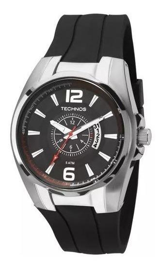 Relógio Masculino Technos Performance Race Pulseira Preta Em Silicone , Caixa De Aço Modelo 2115ktb/8p