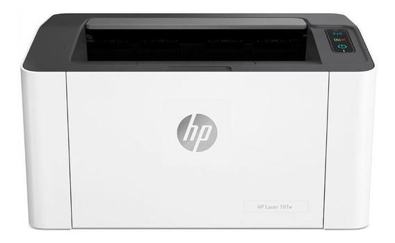 Impressora HP 107W com Wi-Fi 110V branca e preta