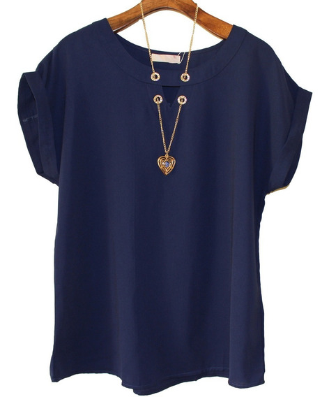 Camisa Feminina Blusa Plus Size Com Colar Brinde 2517