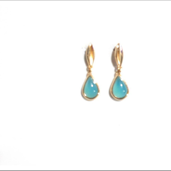 Brinco Feminino Pedra Agata Azul Folheado Ouro 18k