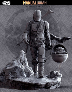 Mandalorian Diorama 2020 - Star Wars - Stl Para Impresión 3d
