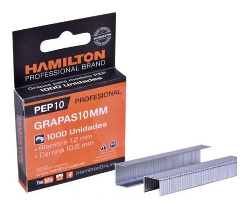 Grapas Para Engrapadora 10mm Caja X 1000u. Hamilton Pep10