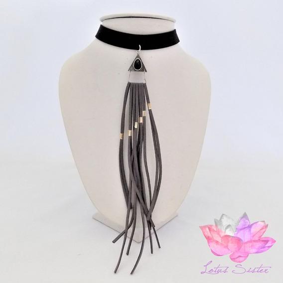 Collar Choker Dama Negro Con Colgantes De Tela (pz)