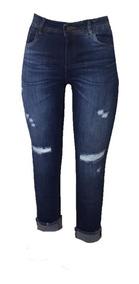 Calça Jeans Feminina Mom Cropped Desfiada Roupa Femini 7543