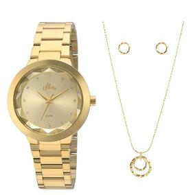 Kit Relógio Allora Feminino Facetados Al2035fkq/k4x Dourado