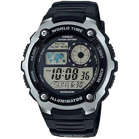 Relógio Casio Illuminato Ae-2100w-1 Pulseira Borracha 2100