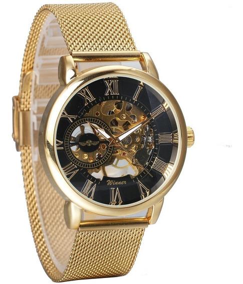 Relógio Luxo Mecânico Skeleton Ultra Thin Golden 468x Winner