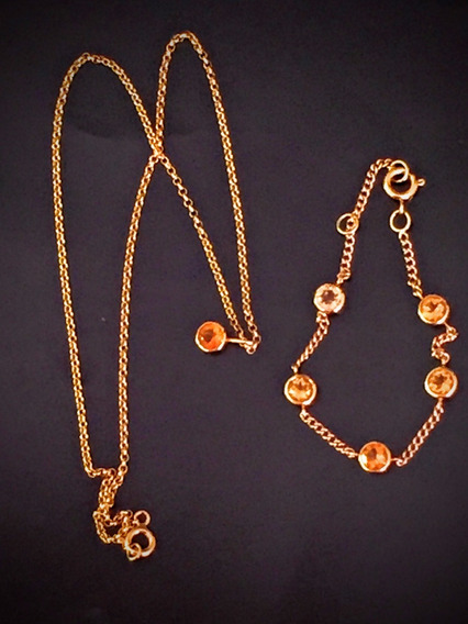 Colar-pulseira Ouro 18k, 7.5gr., Colar 38cm. Puls.16cm.