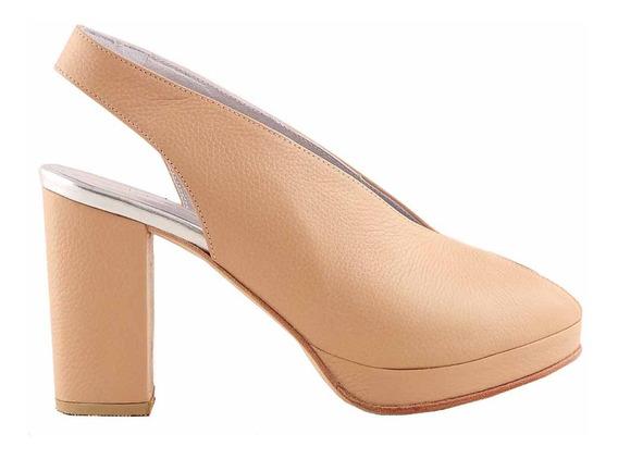 Zapato Cuero Mujer Briganti Vestir Taco Suela - Mccz03462