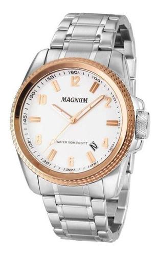 Relógio Magnum Masculino Prateado Ma34085q Prata