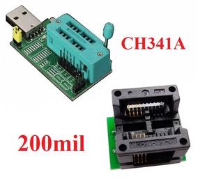 Gravador De Eprom Ch341a + Adaptador Soic8 Para Dip8 200mil