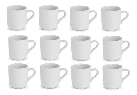 Jogo 12 Canequinha 70 Ml Porcelana Branca Lisa Xicara Cafe