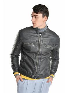 Chamarra Pesada Hombre Tipo Biker Color Negro Lob