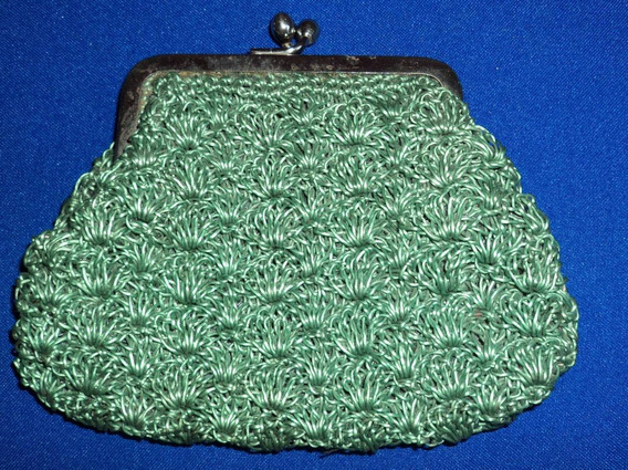 Antiguo Monedero Crochet Cierre Pellizco 14x10 Cm