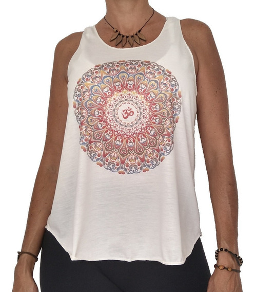 Camiseta Blusinha Regatinha Feminina Mandala Om Yoga Índia K