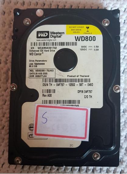Hd Western Digital 80gb Wd800 Ide-saudável-saudável