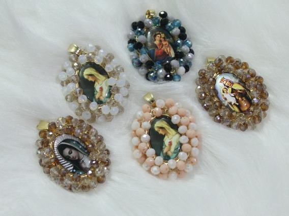 Collar Medalla Santos Religiosa Bordada Cristales Virgen Ch.
