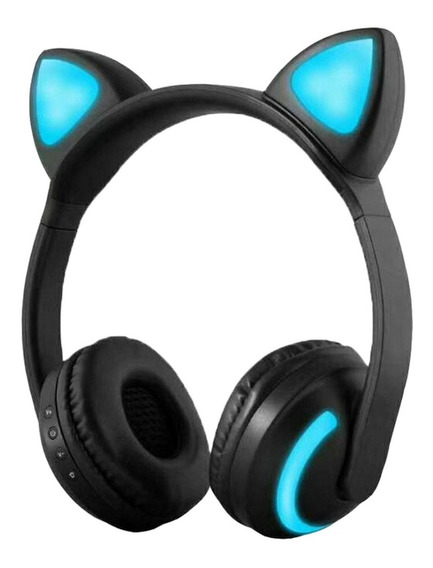 Fone De Ouvido Orelha Gato Led Com 7 Cores Luz Headphone