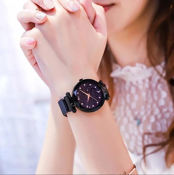 Relógio Feminina Estrelado Pulseiro Magnética