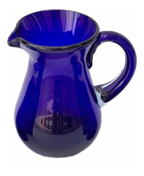 Jarra Vidrio Soplado Artesanal Azul Cobalto 2.5 Lts