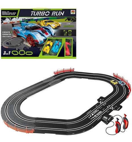 Auto Pista Turbo Run Circuito 3 Formatos + 2 Carros Infantil