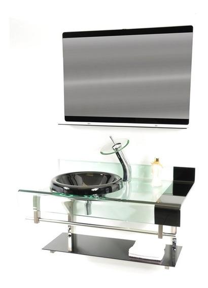 Gabinete Vidro Banheiro 90cm - Preto E Vinho