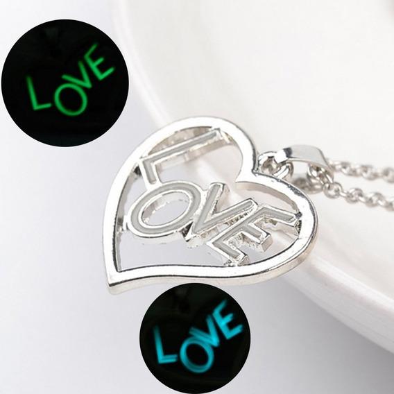 Colar De Coração Brilha No Escuro Amor Love