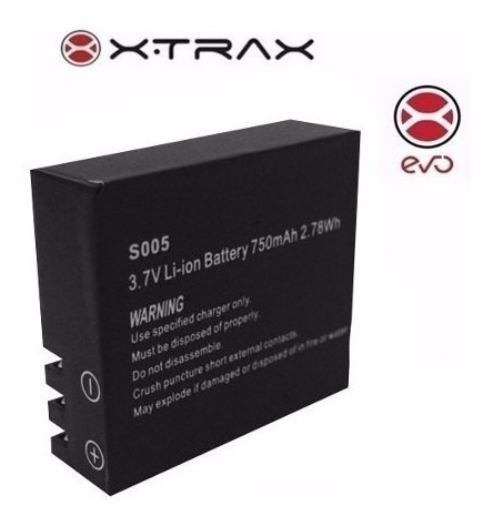 Bateria Reserva Para Câmera De Ação Xtrax Evo 750mah 3.7v