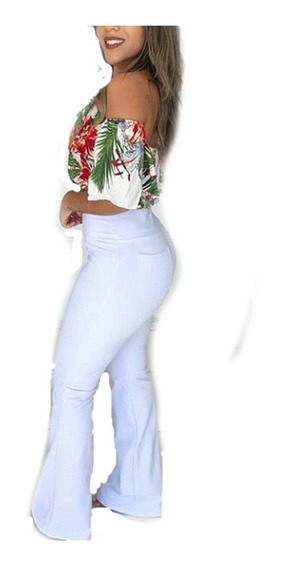 Calças Flare Cotton Jeans Imita Jeans Super Oferta