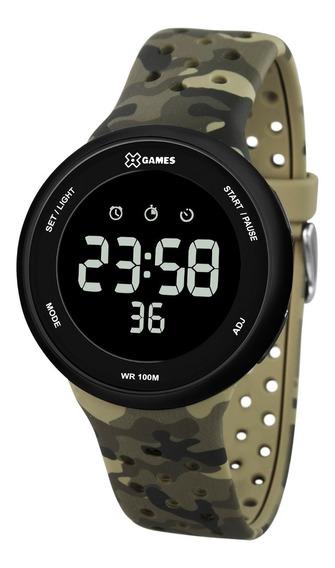 Relógio X-games Masculino Digital Xmppd486 Verde Camuflado