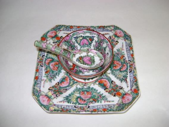 Antigua Dulcera Plato Y Cuchara En Porcelana China