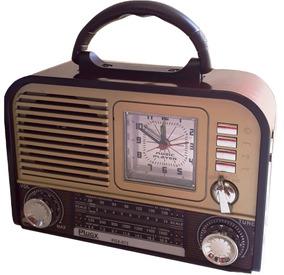 Rádio Portátil Retro Am/fm/sw Usb Cartão Relogio Despertador