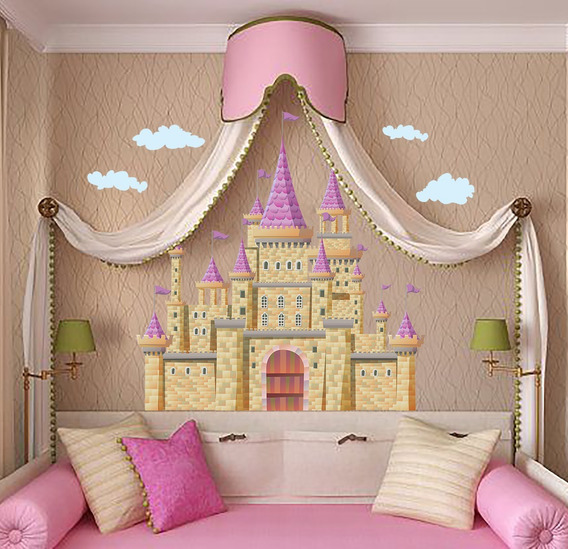 Vinilo Decorativo Infantil Castillo I04. Sticker Princesas