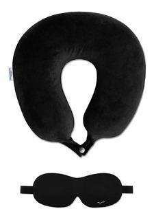 Kit Viagem Travesseiro Viva Conforto Preto+máscara De Dormir