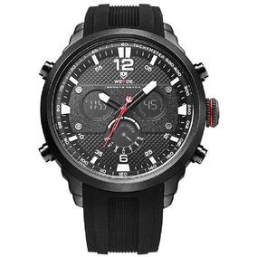 Relógio Masculino Weide Black Borracha Anadigital 6303