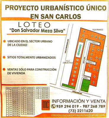 Inmejorable Loteo don Salvador Meza Silva