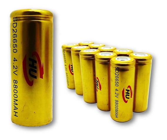 Kit 10 Bateria Recarregável Lítio 9800mah 3.7v Para Lanterna