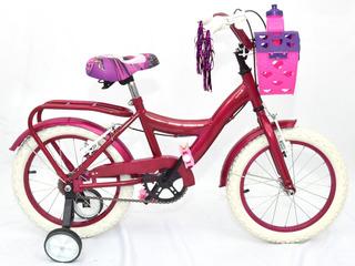 Bicicleta Infantil Cross Nena R14 Fucia Rosa Lila Promo
