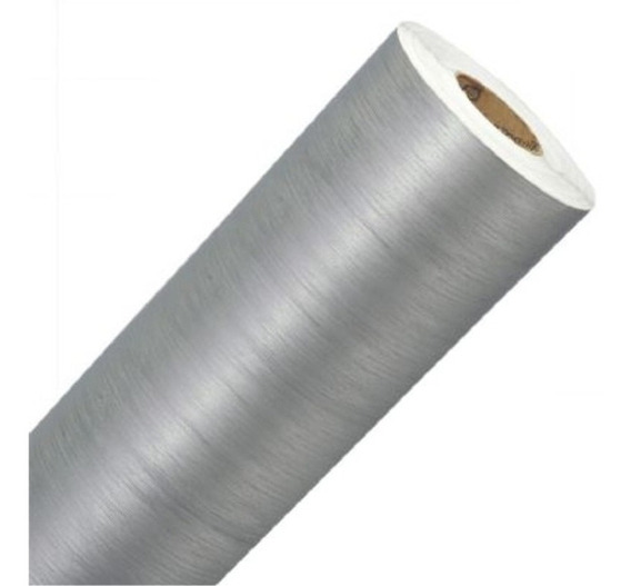 Adesivo Estilizado Aço Escovado Prata 100 X 50 Cm