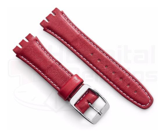Pulseira Swatch Couro Liso 19mm Vermelho Irony Clássico