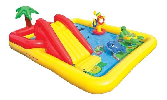 Piscina Playcenter Intex 7538-7 Oceano 458l Com Escorregador