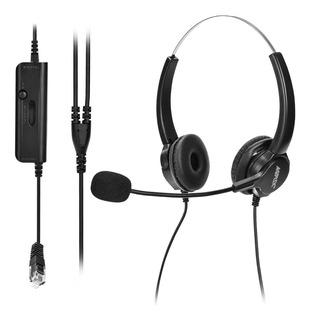 Agptek Call Center Auriculares Con Cable Binaural Para Telef
