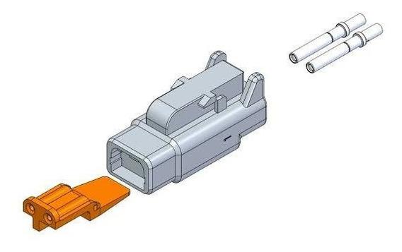 Kit Conector Deutsch Dtm06-2s Com Trava E Terminais