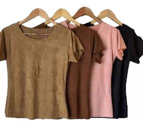 Blusinha Tshirts Suede Lançamento Moda Outono-inverno Até Xg