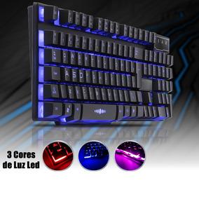Teclado Gamer Iluminação Rgb Com 3 Cores Vermelho,roxo,azul