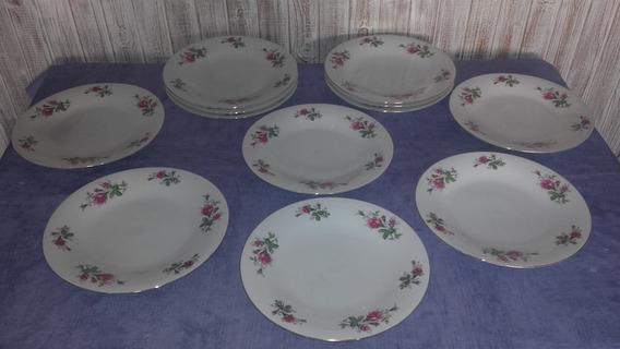 Platos Playos Porcelana Rosas Y Hojas Diametro 26,5 Cm