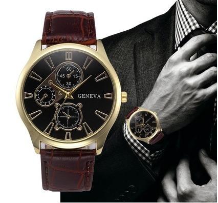 Relógio Masculino Dourado Preto Relogio Original Geneva
