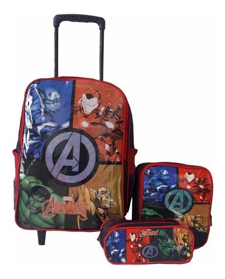 Mochila Rodinha Vingadores Avengers Escolar Infantil