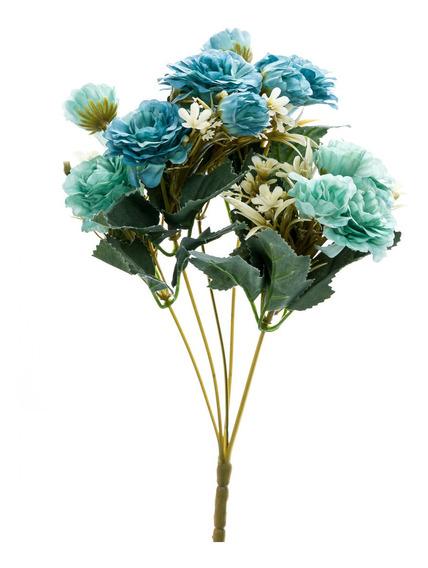 Flor Artificial Galho Plástico Tecido Decoração 32cm