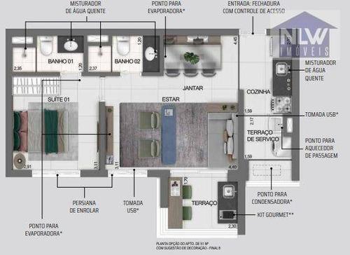 Apartamento Com 2 Dormitórios À Venda, 51 M² Por R$ 1.026.390,00 - Indianópolis - São Paulo/sp - Ap3195